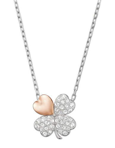 Swarovski Better Clover Rosegold and Rhodium-Plated Necklace-SILVER-One Size