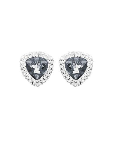 Swarovski Silver Tone Swarovski Crystal Stud Earring-GREY-One Size