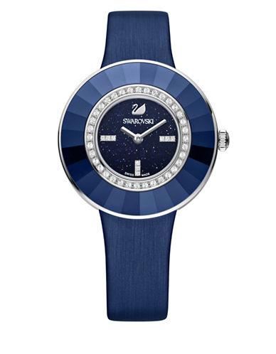 Swarovski Octea Dressy Crystal Glitter Leather Watch-BLUE-One Size