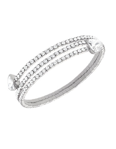 Swarovski Silver Tone Swarovski Crystal Bangle-SILVER-One Size