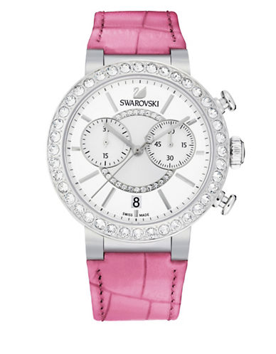 Swarovski Citra Pave Embossed Leather Chronograph Watch-PINK-One Size