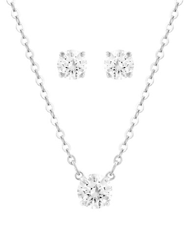 Swarovski Silver Tone Swarovski Crystal Attract Jewellery Set-SILVER-One Size