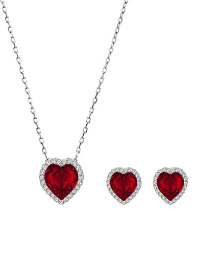 Swarovski Silver Tone Swarovski Crystal Jewellery Set-RED-One Size