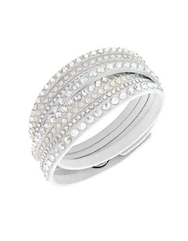 Swarovski Fabric Swarovski Crystal Slake Wrap Bracelet-WHITE-One Size