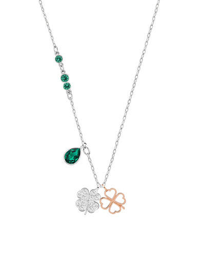 Swarovski Pendant Clover Charm Necklace-GREEN-One Size