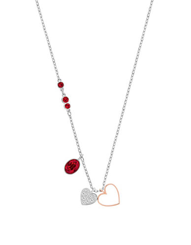 Swarovski Small Heart Duo Pendant Necklace-RED-One Size