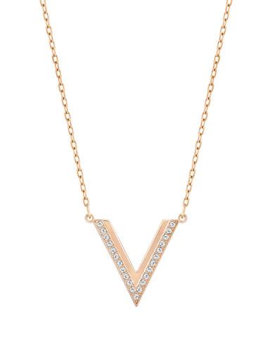 Swarovski Pave Crystal Chevron Necklace-ROSE GOLD-One Size