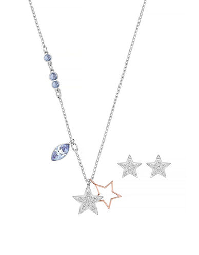 Swarovski Star Necklace and Earrings Set-BLUE-One Size