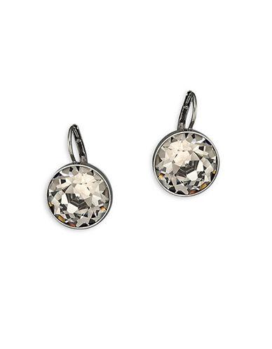 Swarovski Bella Crystal Ruthenium-Plated Drop Earrings-GREY-One Size