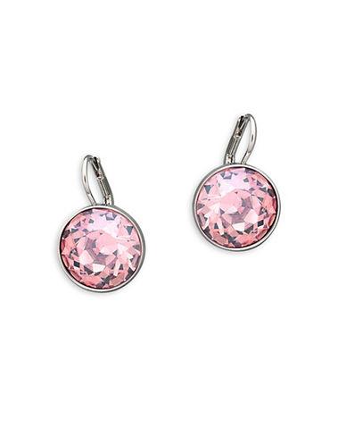 Swarovski Bella Crystal Rhodium-Plated Drop Earrings-PINK-One Size