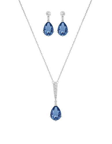 Swarovski Vintage Crystal Necklace and Earrings Set-BLUE-One Size