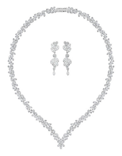 Swarovski Diapson Crystal V-Necklace and Earrings Set-SILVER-One Size