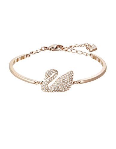 Swarovski Crystal Swan Rose Gold Bangle Bracelet-ROSE GOLD-One Size