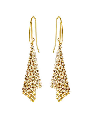 Swarovski Crystal Triangular Drop Earrings-GOLD-One Size