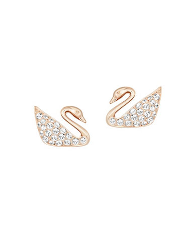 Swarovski Swan Stud Earrings-PINK-One Size