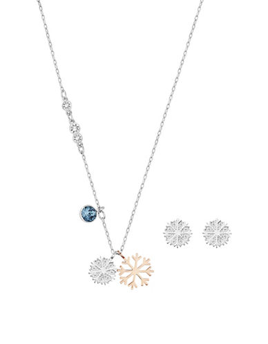 Swarovski Snowflake Necklace and Earring Set-BLUE-One Size