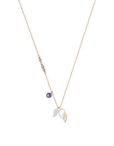 Swarovski Double Wing Pendant Necklace-PURPLE-One Size