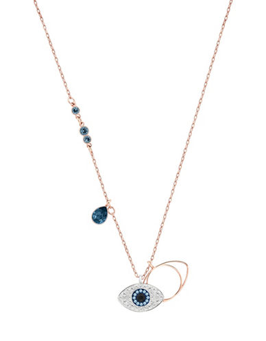 Swarovski Duo Crystal Evil Eye Pendant Necklace-BLUE-One Size