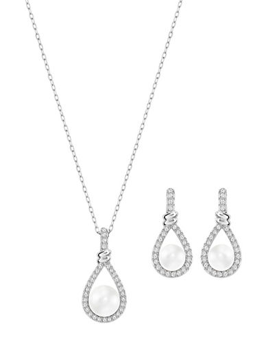Swarovski Enlace Faux Pearl and Crystal Rhodium-Plated Necklace and Drop Earrings Set-WHITE-One Size