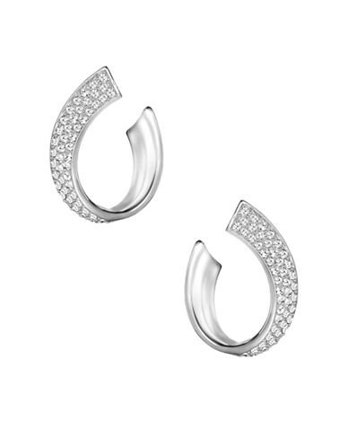 Swarovski Exist Crystal Small Pierced Hoop Earrings-SILVER-One Size