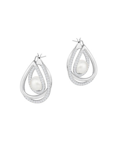 Swarovski Free Faux Pearl and Crystal Rhodium-Plated Interlocked Drop Earrings-WHITE-One Size
