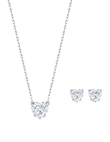 Swarovski Attract Heart Necklace and Earrings Set-SILVER-One Size