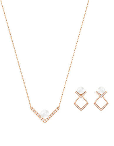 Swarovski Edify Faux Pearl and Crystal Rose Goldplated Necklace and Drop Earrings Set-ROSE GOLD-One Size