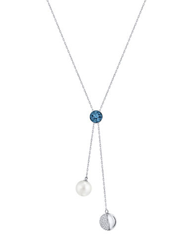 Swarovski Forward Lariat Crystal Necklace-BLUE-One Size