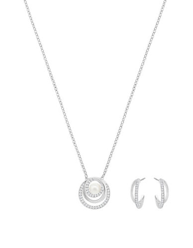 Swarovski Free Faux Pearl and Crystal Rhodium-Plated Pendant Necklace and Half-Hoop Earrings Set-SILVER-One Size