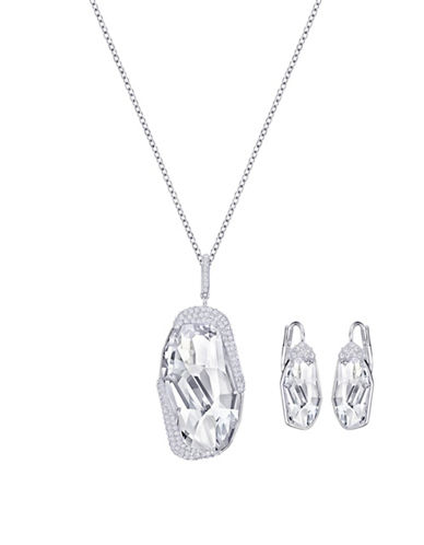 Swarovski Folio Crystal Rhodium-Plated Pendant Necklace and Earrings Set-CRYSTAL-One Size