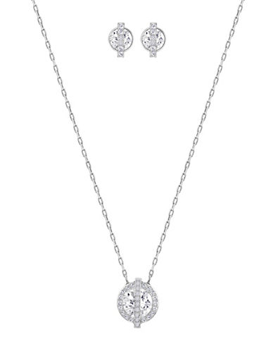 Swarovski Favor Crystal Rhodium-Plated Pendant Necklace and Earrings Set-CRYSTAL-One Size