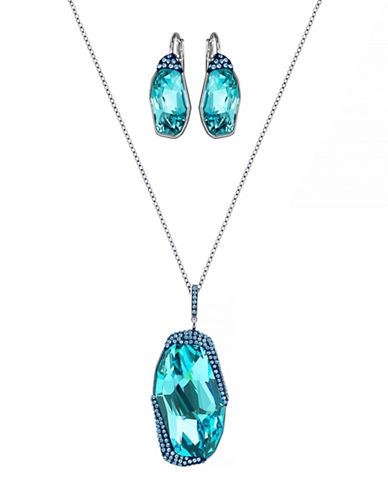 Swarovski Folio Crystal Ruthenium-Plated Pendant Necklace and Earrings Set-TURQUOIS-One Size