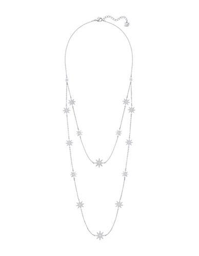 Swarovski Fizzy Crystal Rhodium-Plated Strandage Necklace-CRYSTAL-One Size