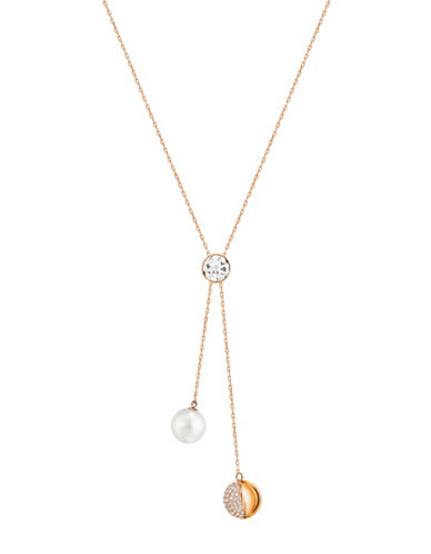 Swarovski Forward Faux Pearl and Crystal Rose Goldplated Y-Necklace-ROSE GOLD-One Size