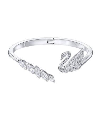 Swarovski Swan Lake Crystal Rhodium-Plated Bangle Bracelet-CRYSTAL-One Size
