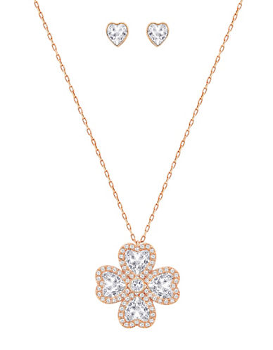 Swarovski Deary Crystal Rose Goldplated Floral Pendant Necklace and Stud Earrings Set-ROSE GOLD-One Size