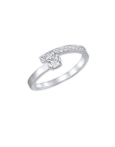 Swarovski Fresh Crystal Rhodium-Plated Bypass Ring-CRYSTAL-7