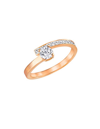 Swarovski Fresh Crystal Rose Goldplated Bypass Ring-ROSE GOLD-7