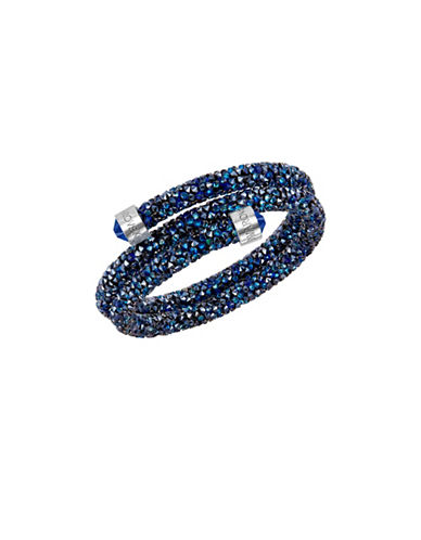 Swarovski Crystaldust Crystal and Stainless Steel Bangle Bracelet-BLUE-One Size
