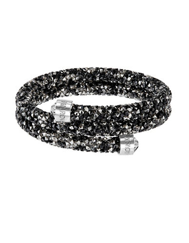 Swarovski Crystaldust Crystal and Stainless Steel Bangle Bracelet-BLACK-One Size