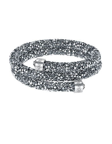 Swarovski Crystaldust Crystal and Stainless Steel Bangle Bracelet-GREY-One Size