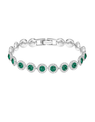 Swarovski Angelic Crystal Rhodium-Plated Bracelet-GREEN-One Size