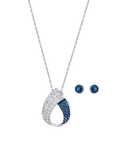Swarovski Fortunately Crystal Rhodium-Plated Necklace and Stud Earrings Set-BLUE-One Size