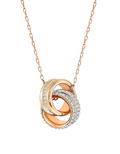 Swarovski Further Crystal Rose Goldplated Interlink Pendant Necklace-ROSE GOLD-One Size