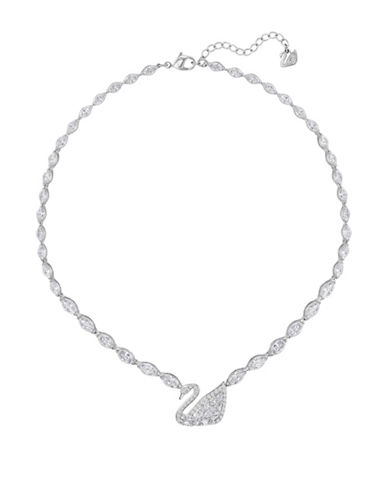 Swarovski Swan Lake Crystal Rhodium-Plated Necklace-BLACK-One Size