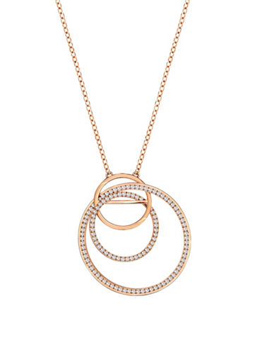 Swarovski Flash Crystal Rose Goldplated Interlink Pendant Necklace-ROSE GOLD-One Size