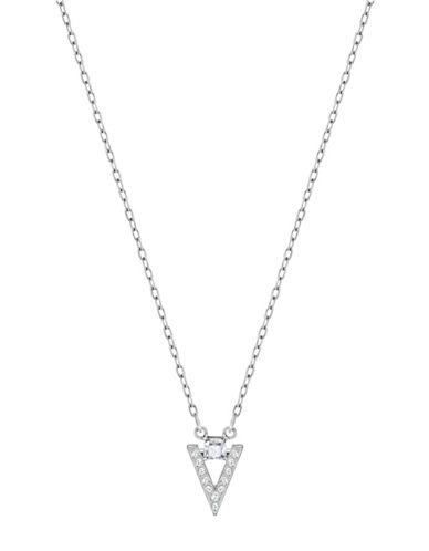 Swarovski Funk Crystal Rhodium-Plated Chevron Pendant Necklace-CRYSTAL-One Size