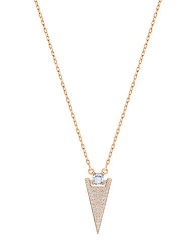 Swarovski Funk Swa Crystal Rose Goldplated Pendant Necklace-GOLD-One Size