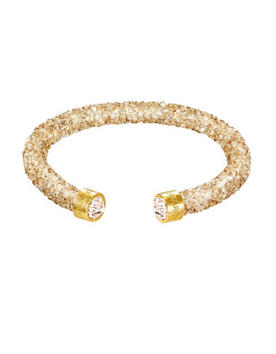 Swarovski Golden Crystal Dust Goldplated Cuff Bracelet-GOLD-One Size