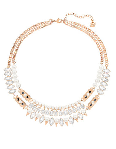 Swarovski Gangster Large Faux Pearl and Crystal Rose Goldplated Necklace-ROSE GOLD-One Size